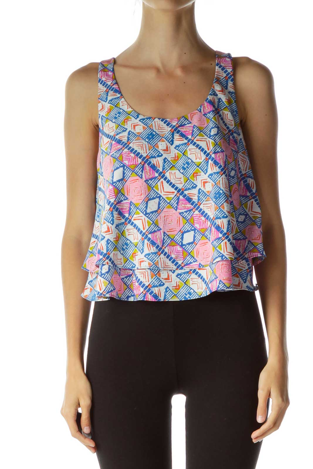 Multicolor Print Cropped Sleeveless Top Front