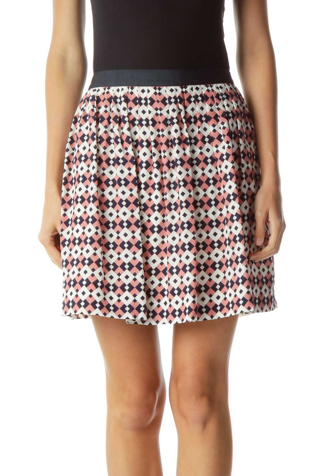 Navy Pink White Geometric Pleated Skirt Front