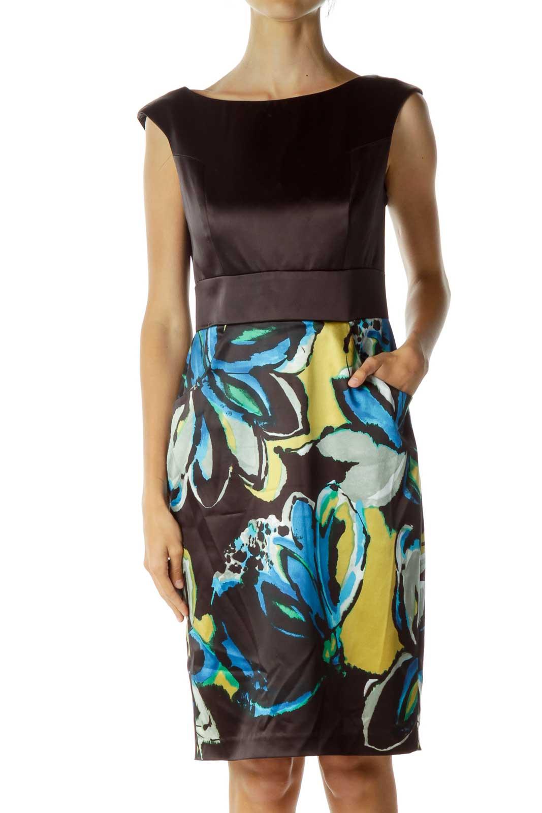 Black Multicolor Pencil Dress Front