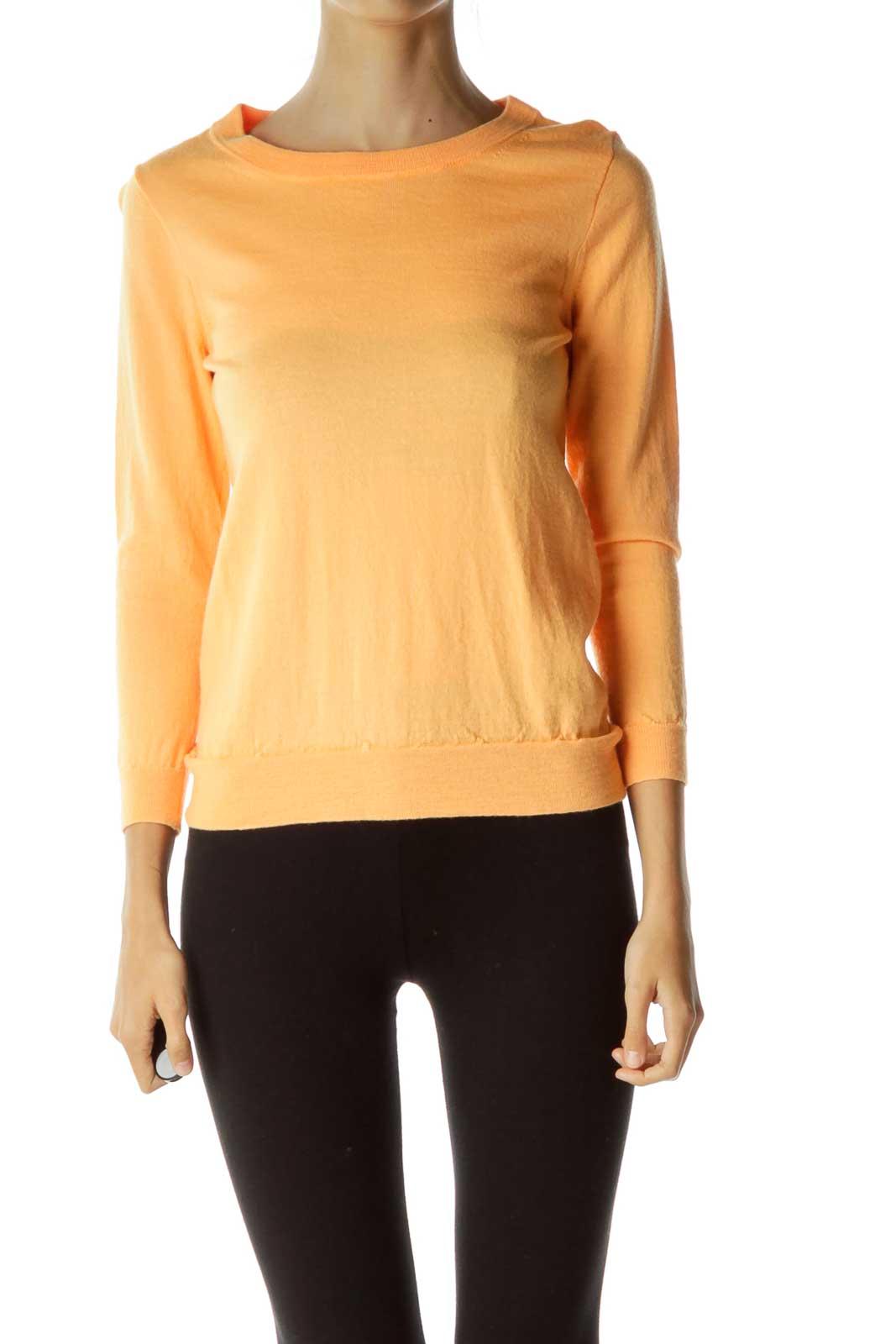Orange Round Neck Sweater Front