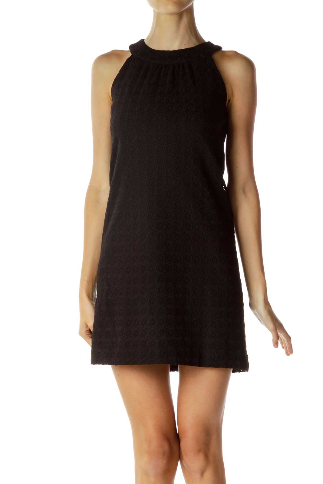 Black Halter Embossed Shift Dress Front