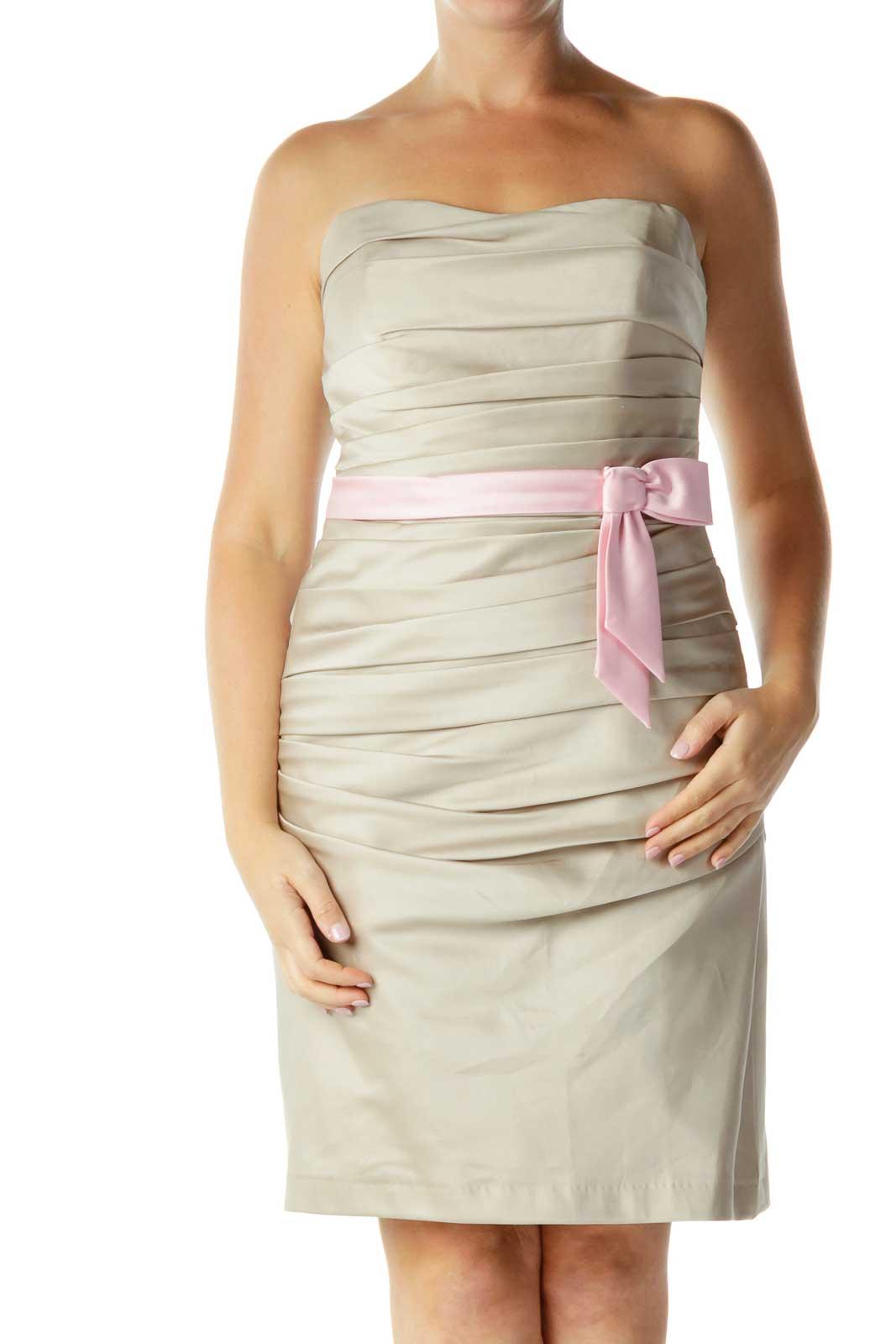 Beige Strapless Cocktail Dress Front