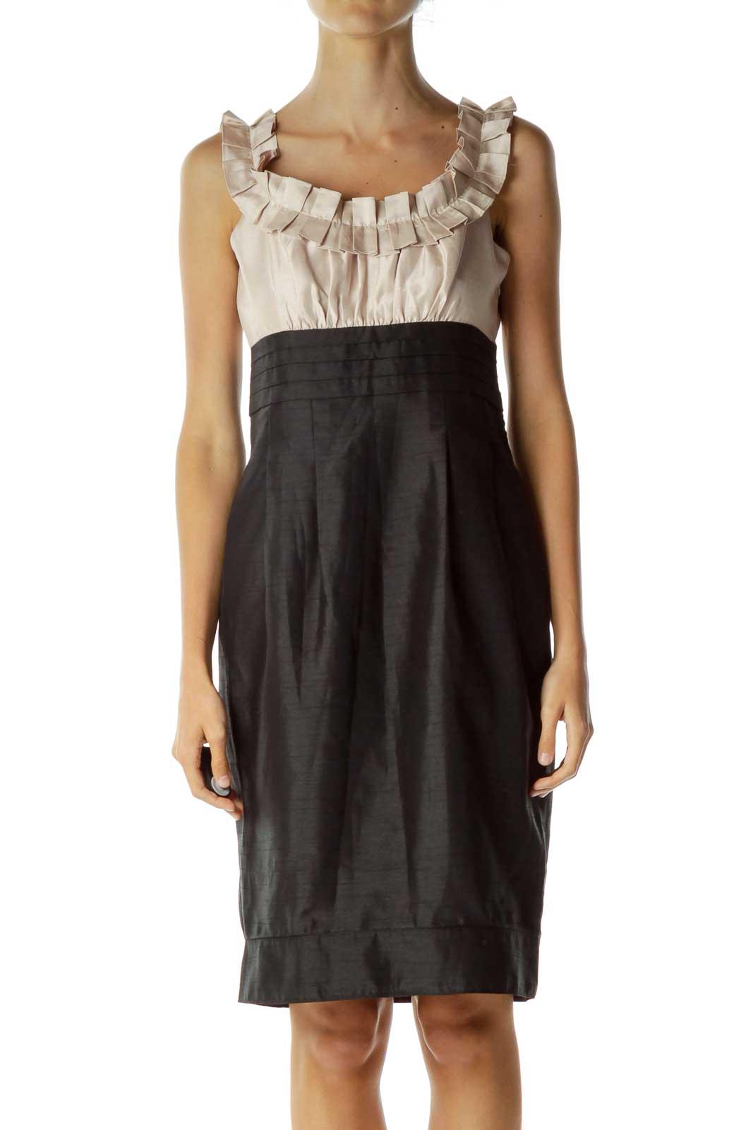 Black Beige Ruffle Detail Cocktail Dress Front