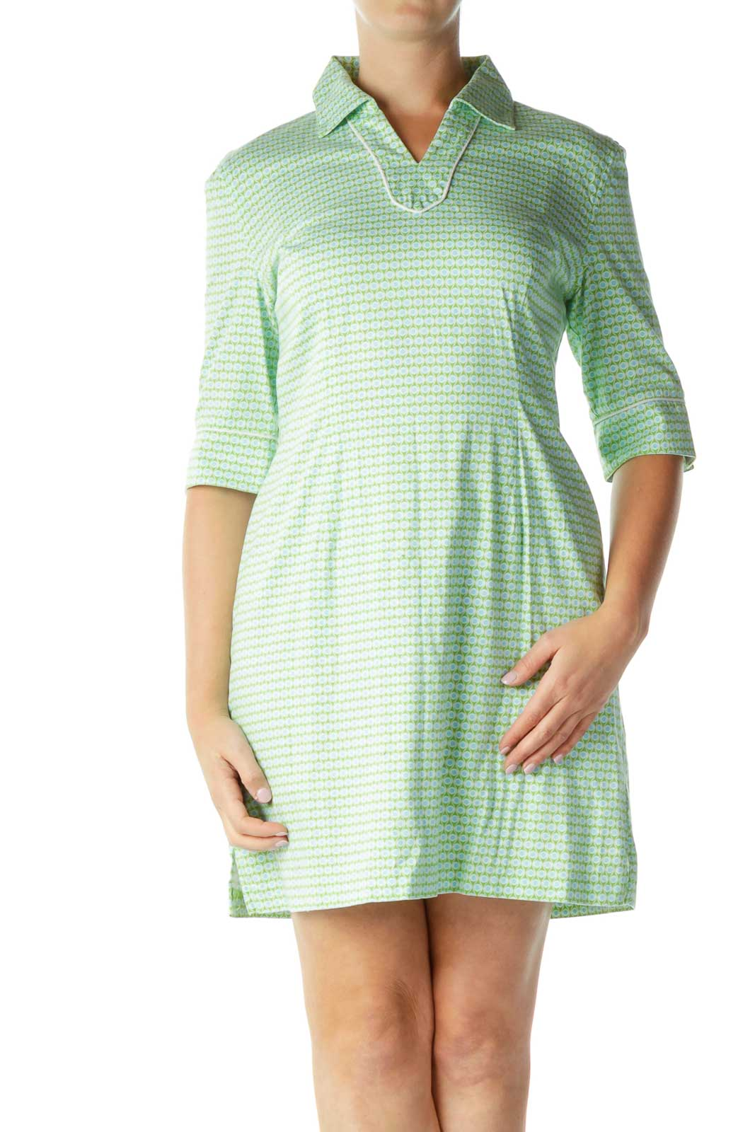 Green Multicolor Collared Dress Front