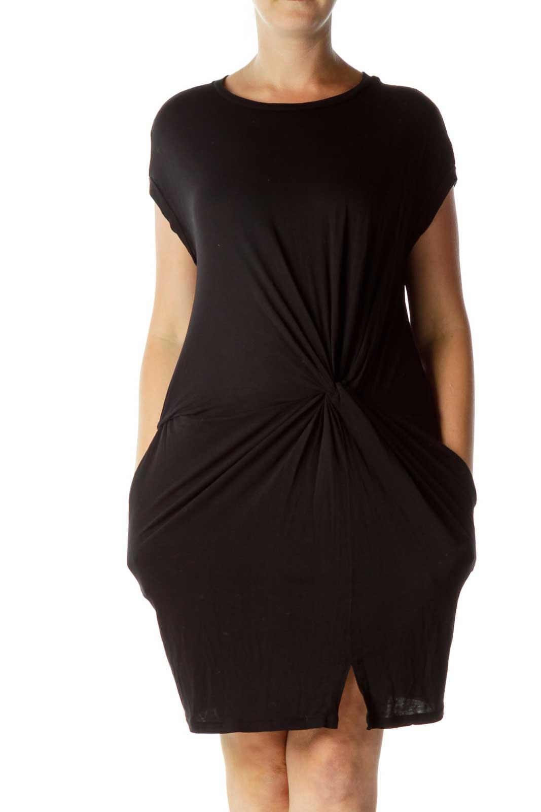 Black Scrunch Detail Jersey Dress Front