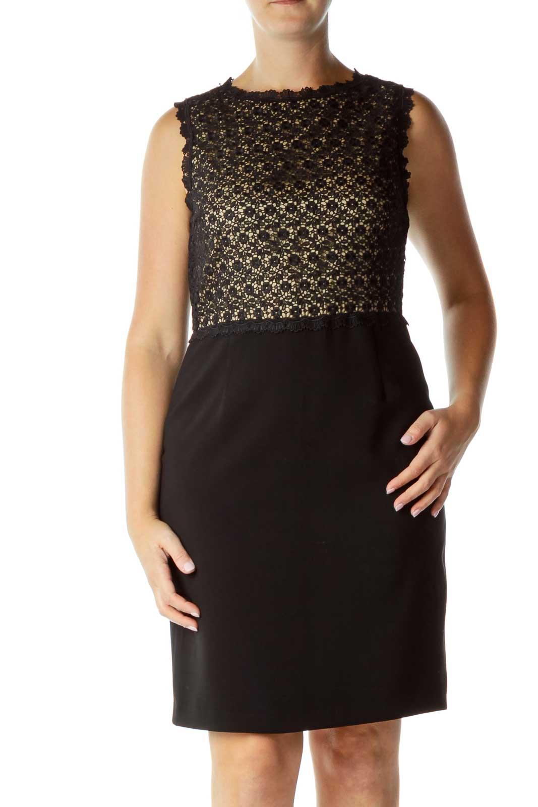 Black Beige Lace Top Cocktail Dress Front