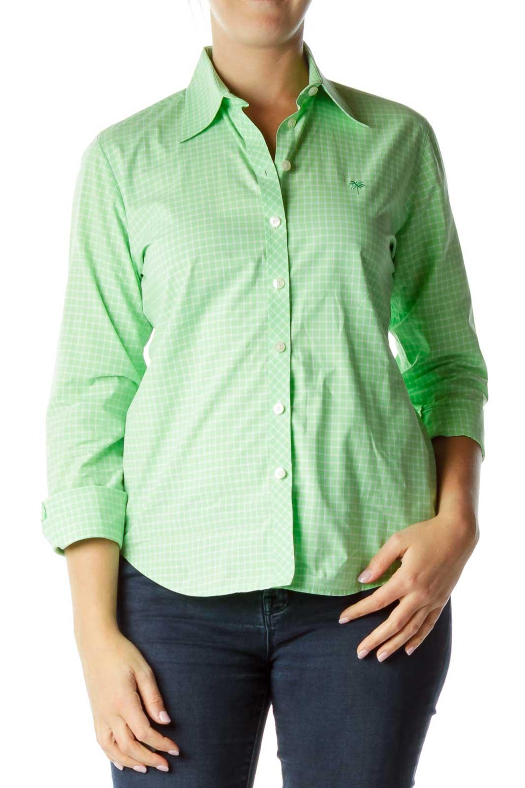 Green White Plaid Shirt Front