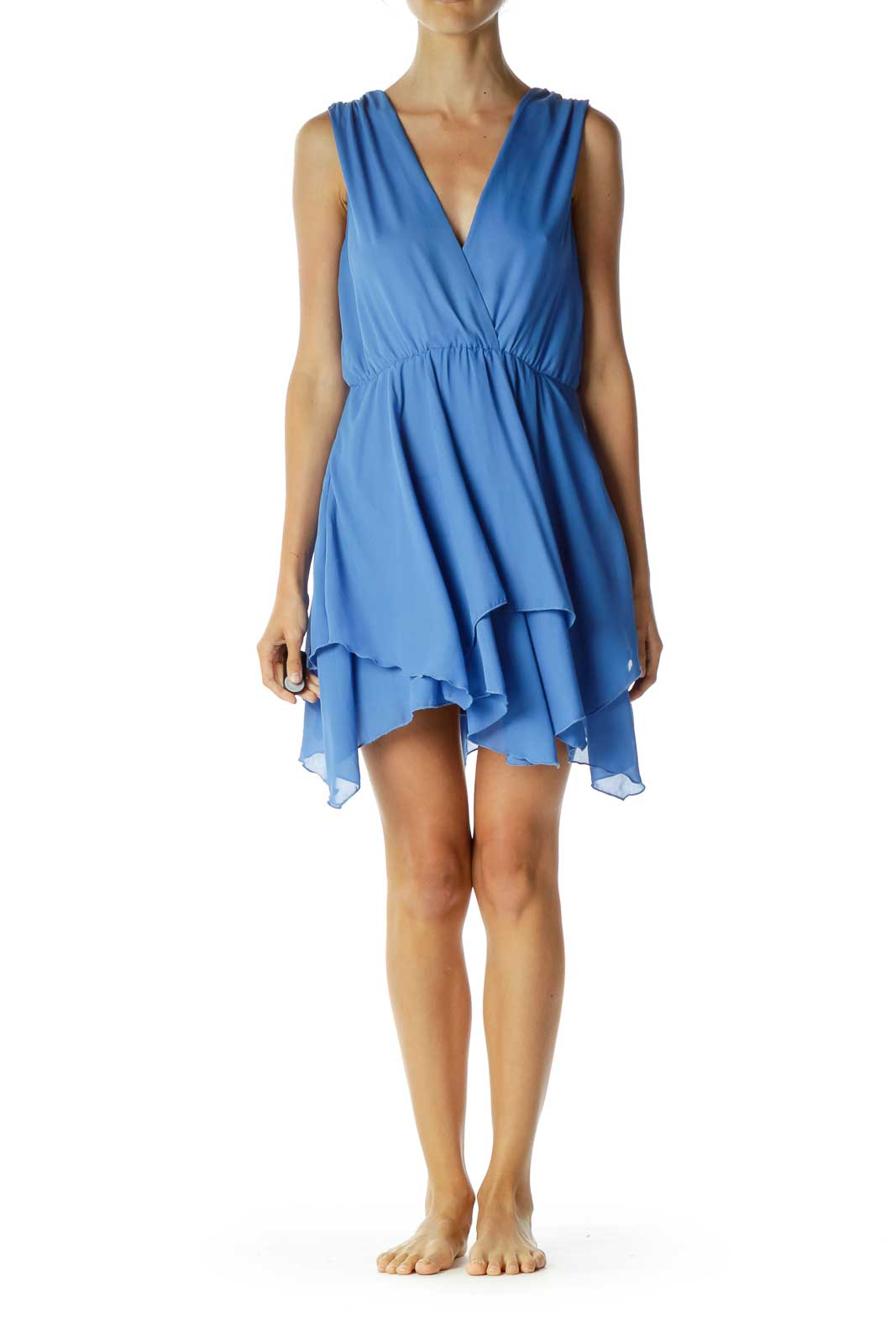 Blue Loose V-Neck Cocktail Dress Front