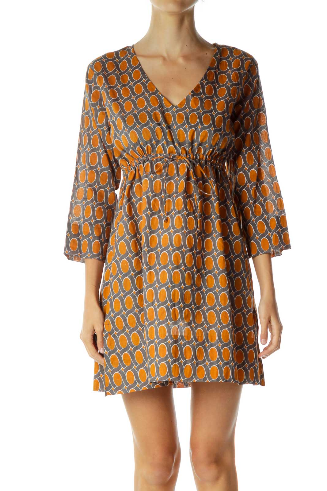 Orange Blue Printed Day Dress Front
