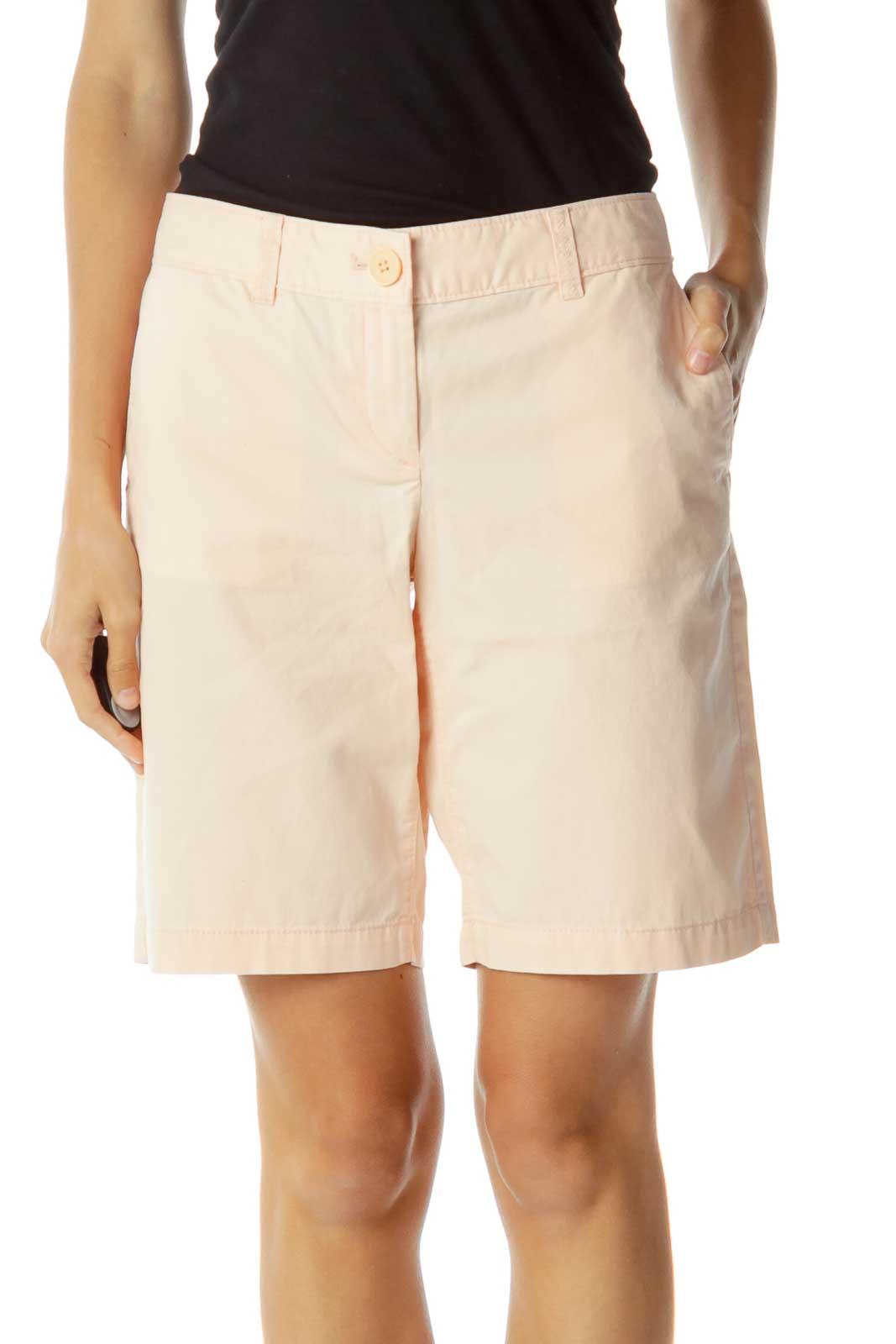 Pink Bermuda Denim Shorts Front