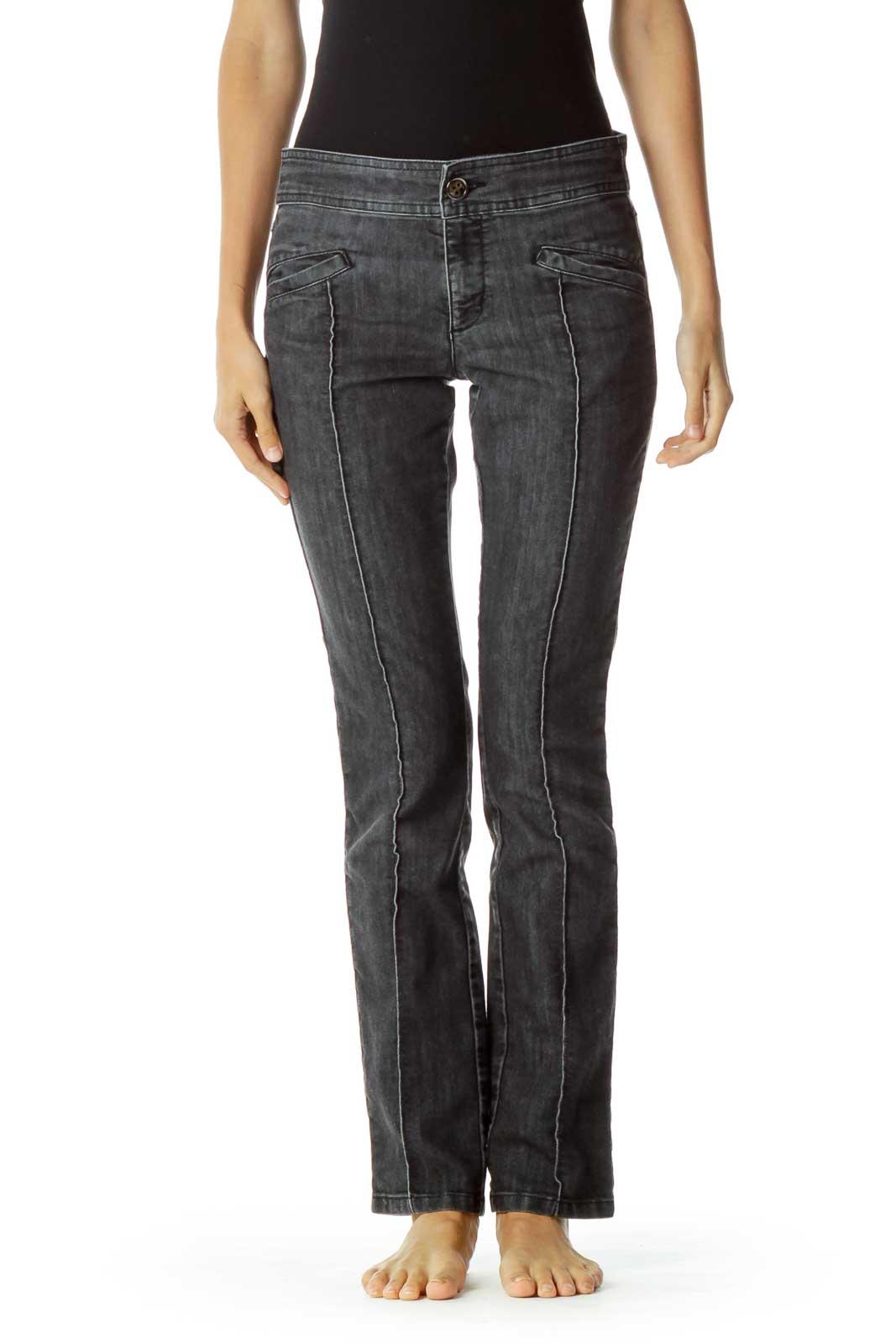 Black Denim Fold Detail Skinny Jeans Front