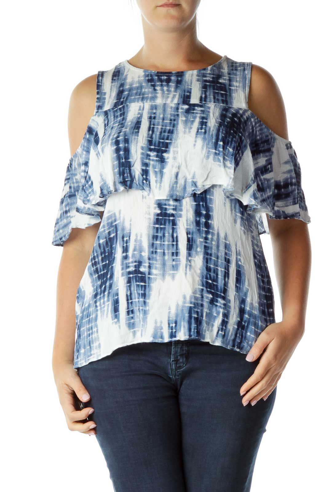 Blue White Cold Shoulder Top Front