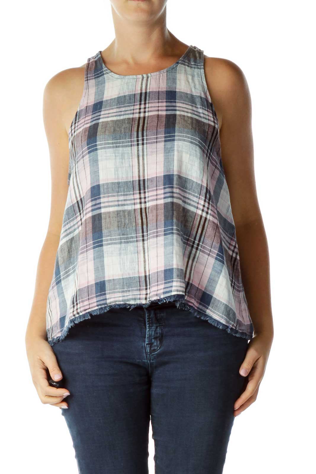 Blue Multicolor Sleeveless Top Front