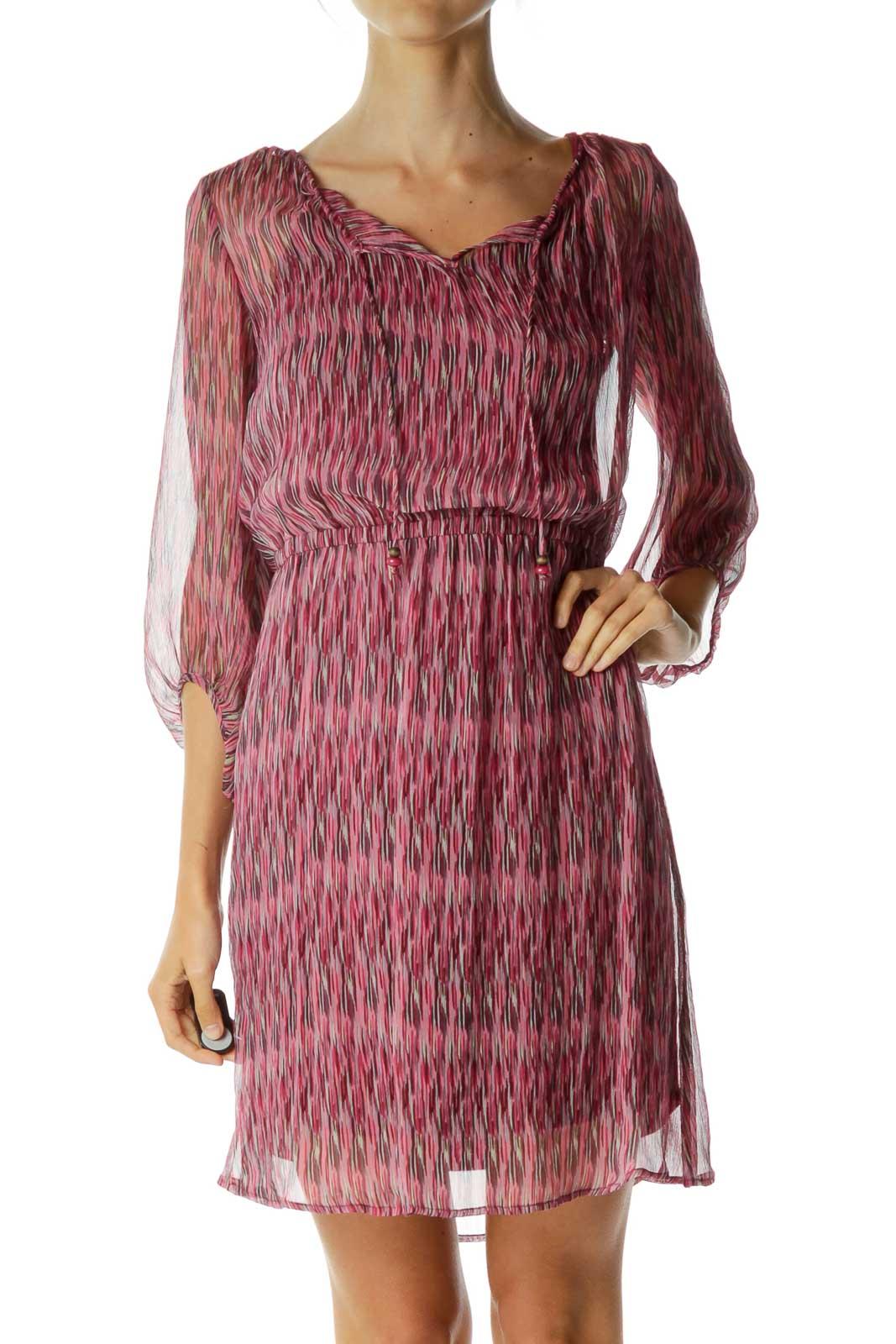 Pink Stripe Print See-Through Dress Front