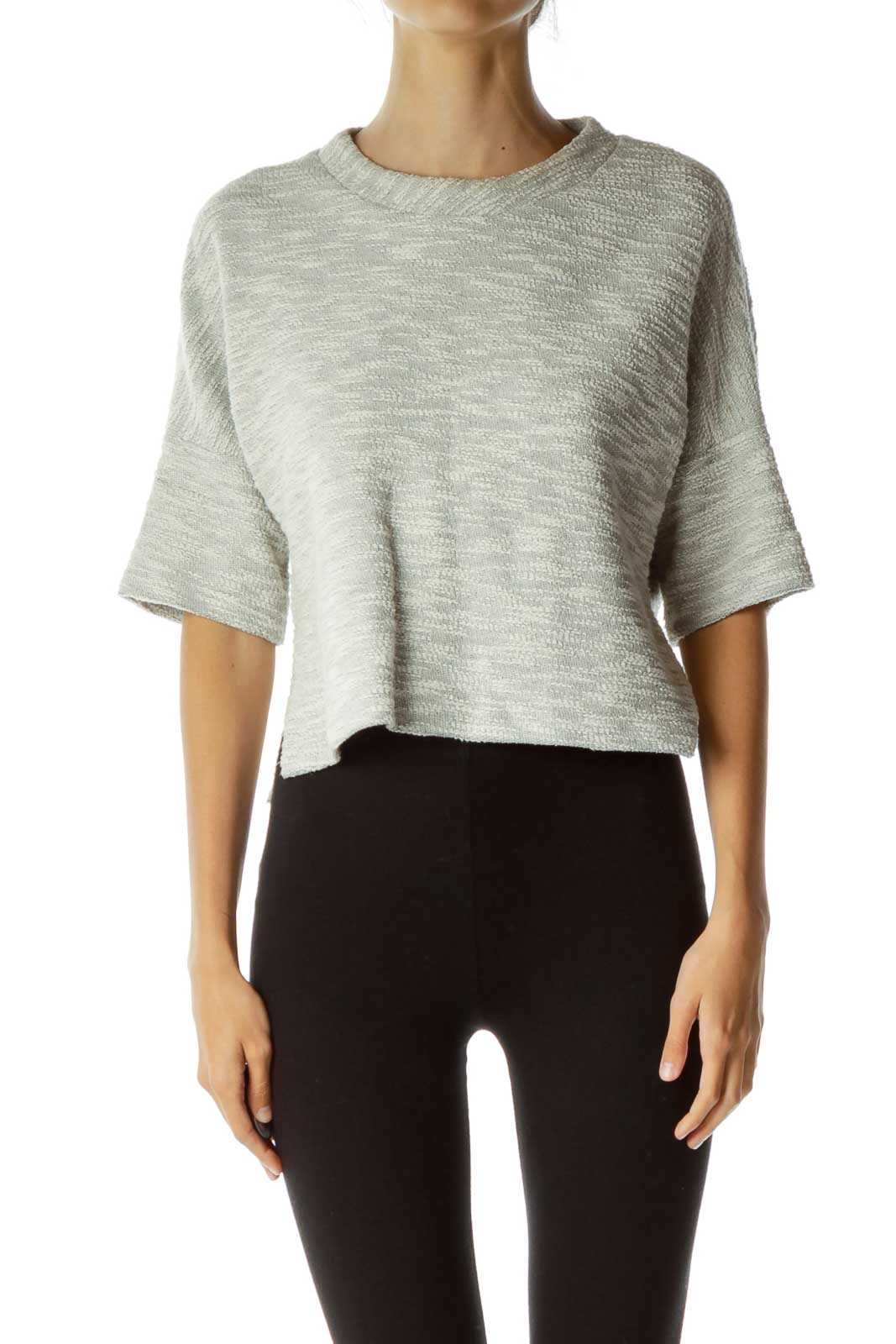 Gray Textured Cropped Top Front