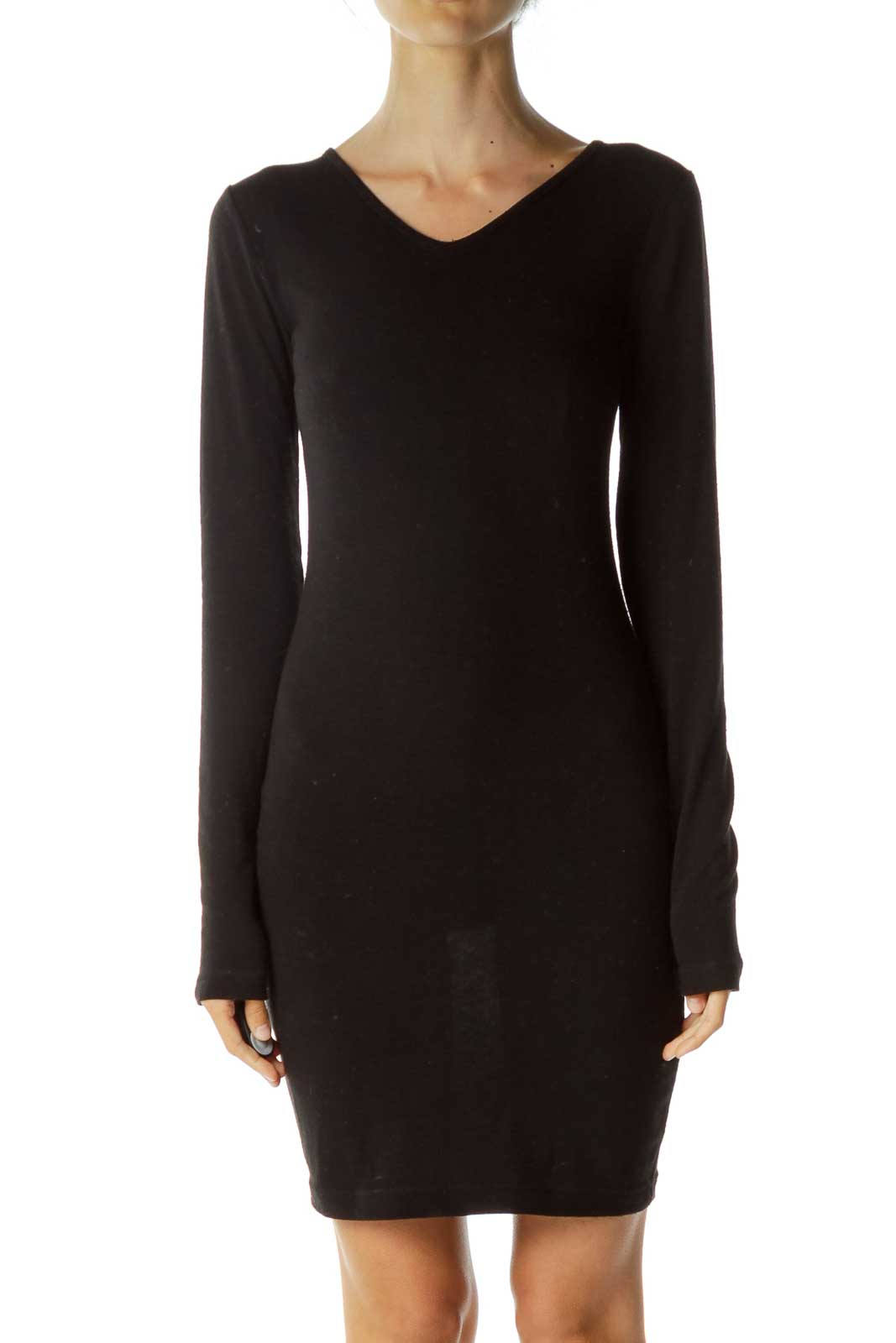 Black Long Sleeve Day Dress Front