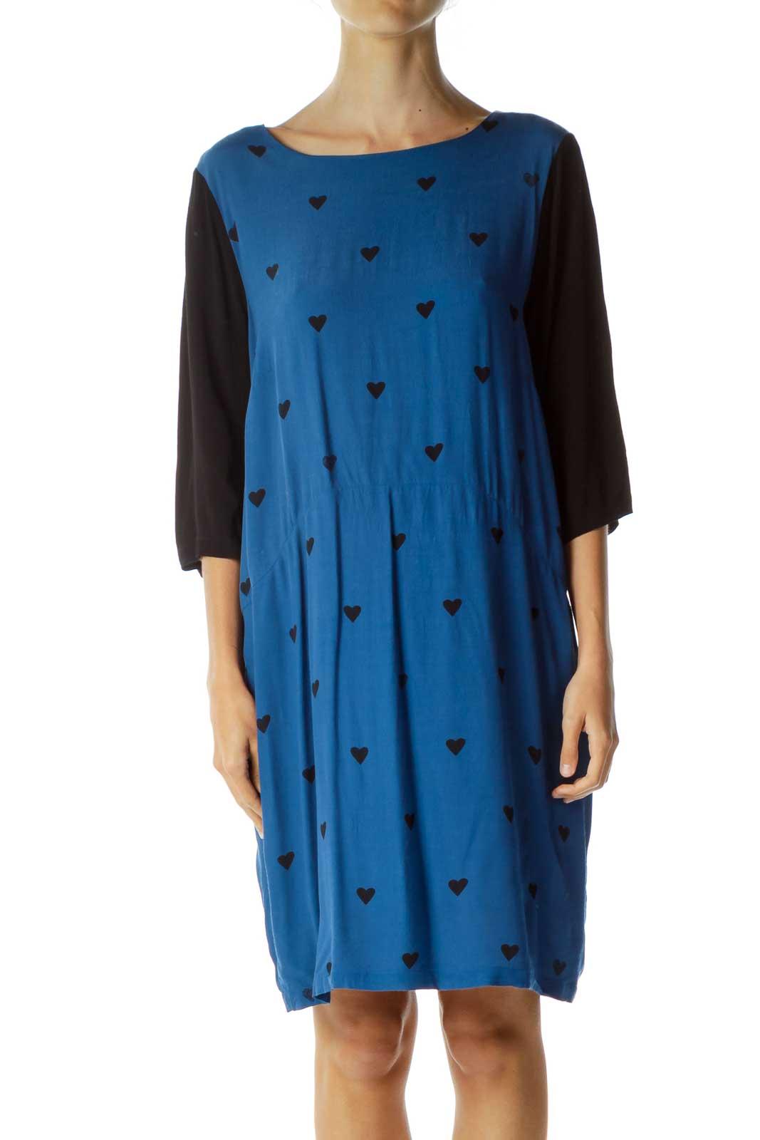 Blue Black Heart Print Day Dress Front