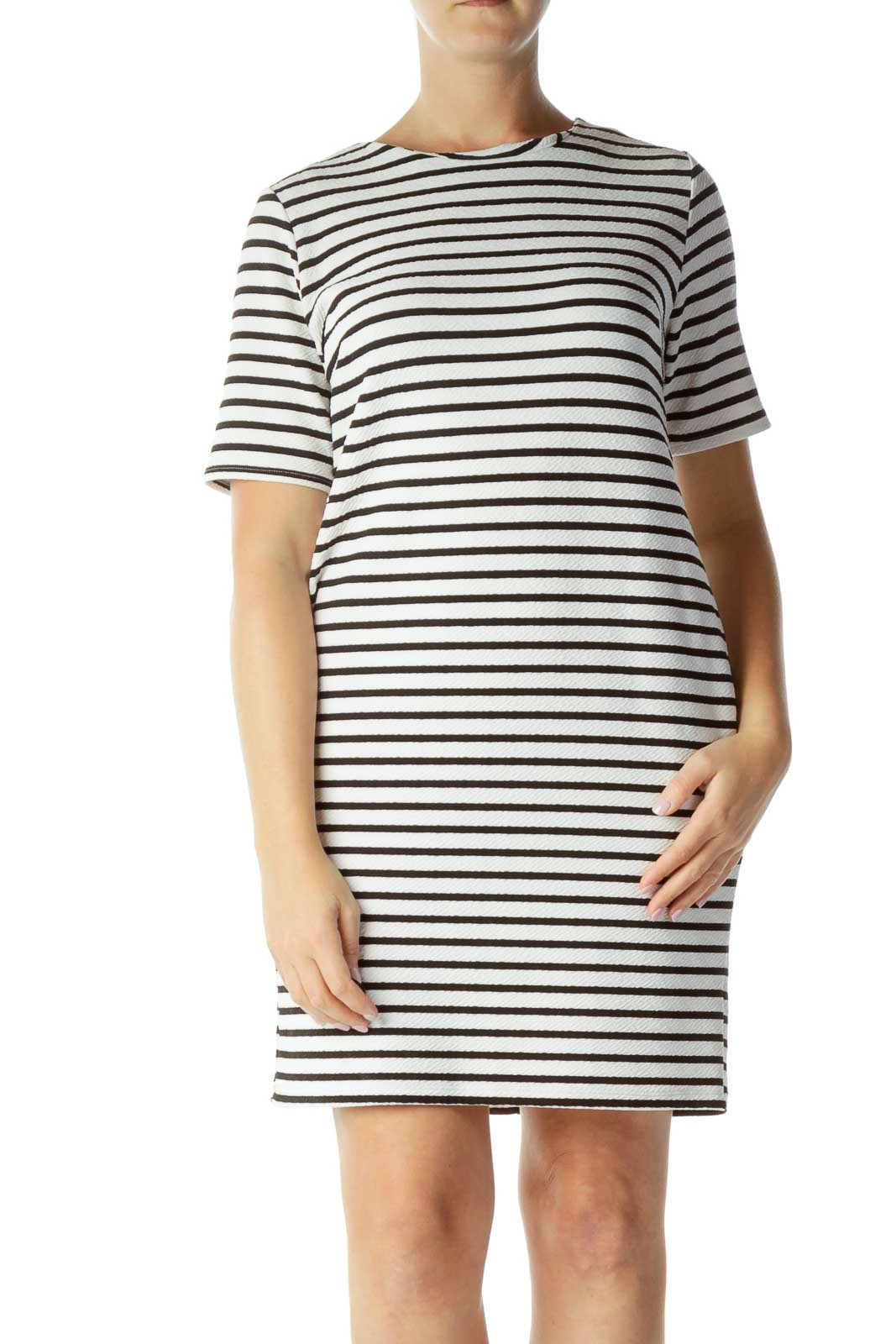 White Black Striped Day Dress Front