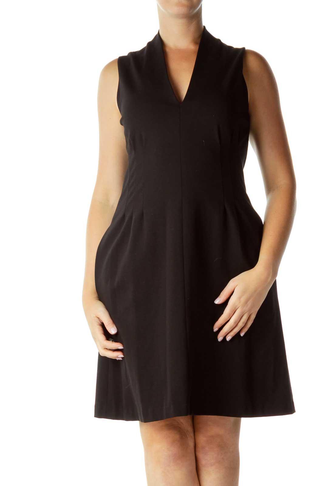 Black V-Neck Pleated Work Dress Front
