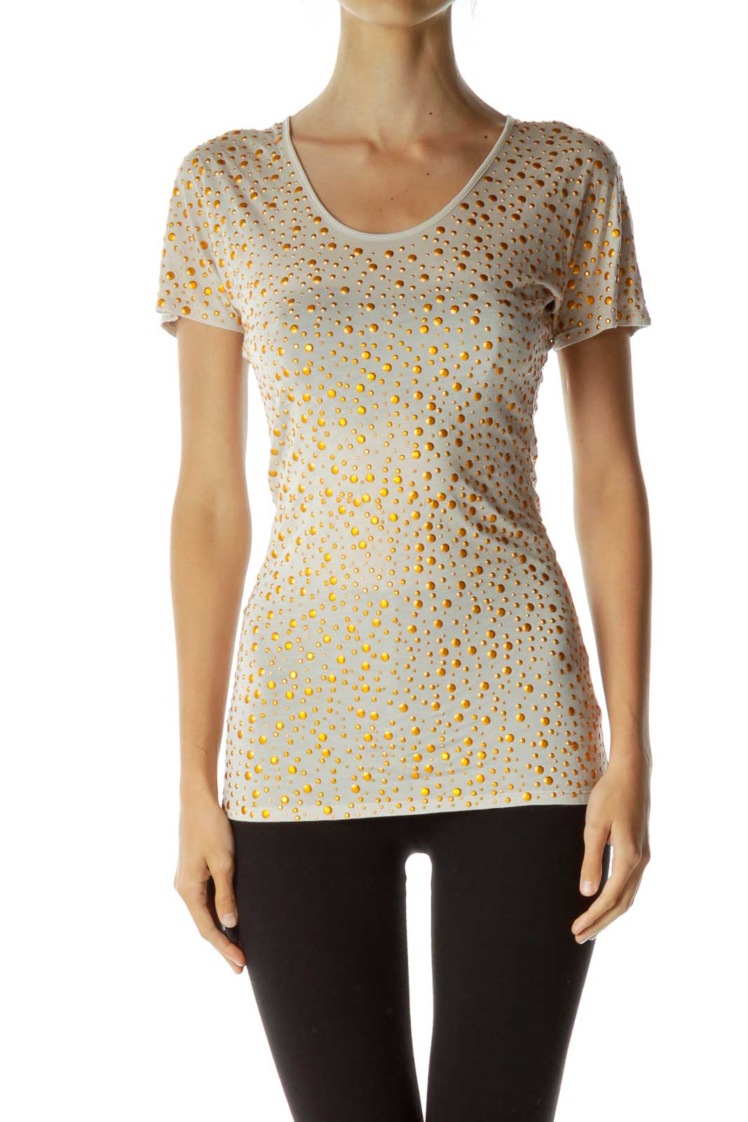 Beige Studded T-Shirt Front