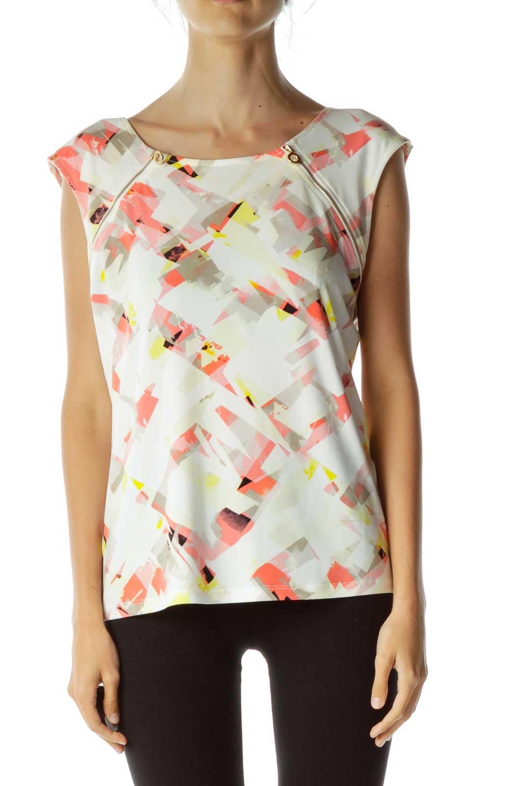 Pink and Yellow Graphic Print Zippered Tank Front