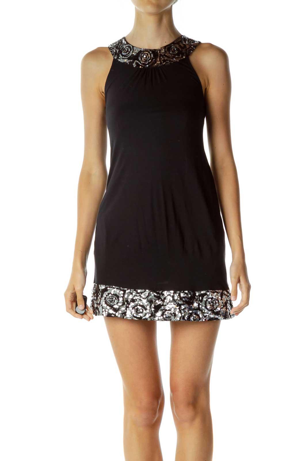 Black Sequin Detailed Dress Front