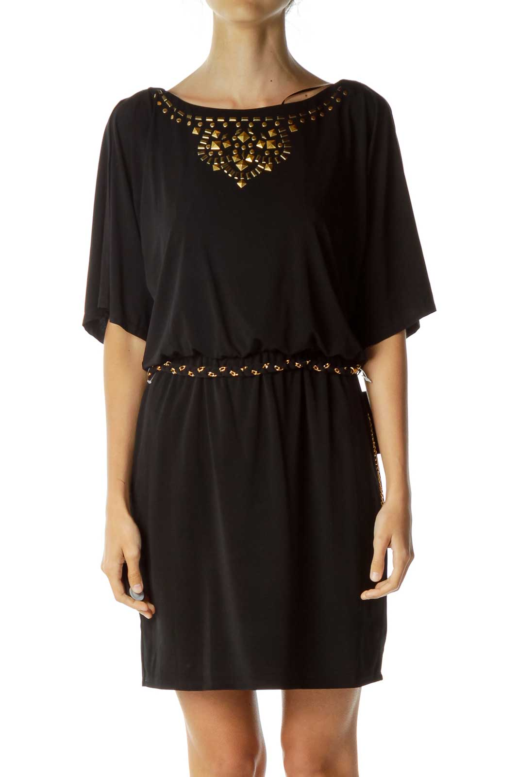 Black Dress with Gold Chain Details Front