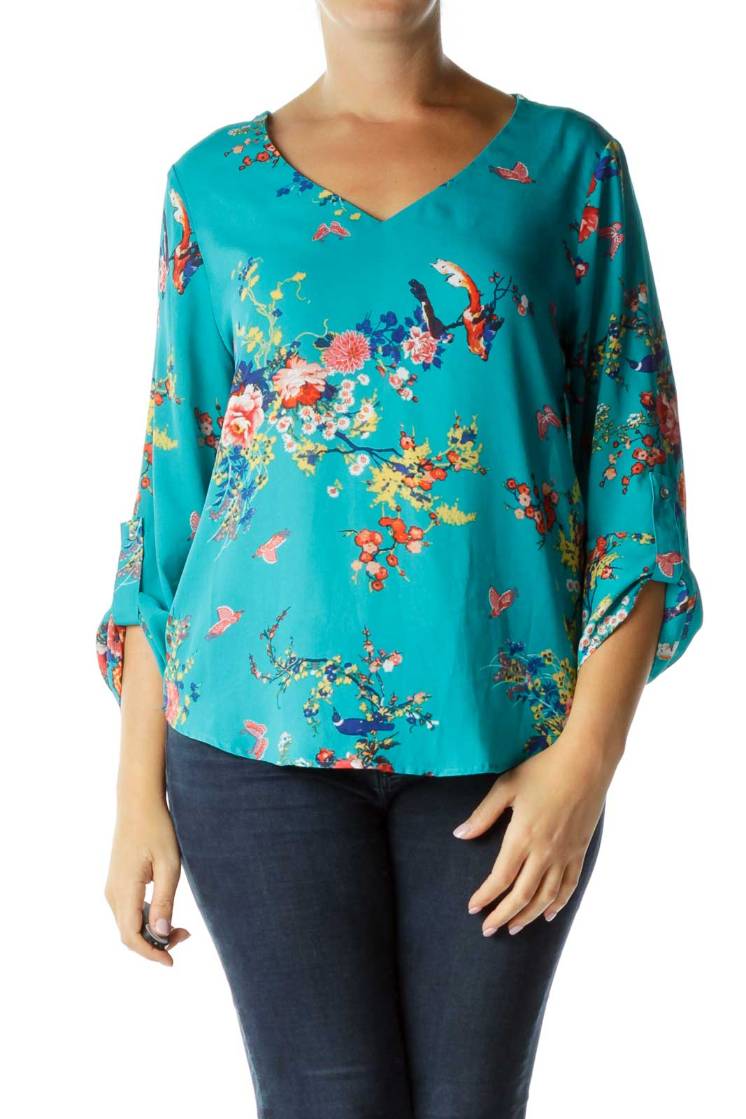 Blue Floral Print Long Sleeve Top Front