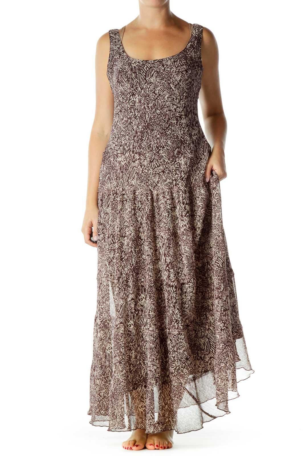 Brown Print Maxi Dress Front