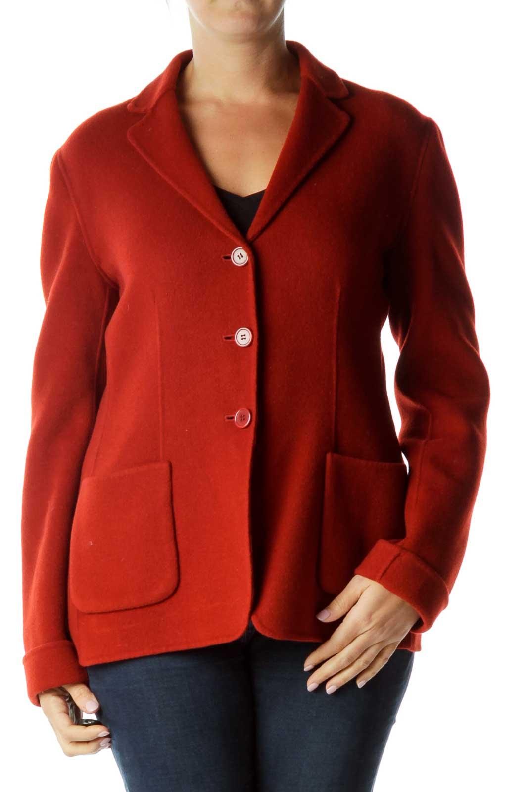 Orange Virgin Wool Pea Coat Front