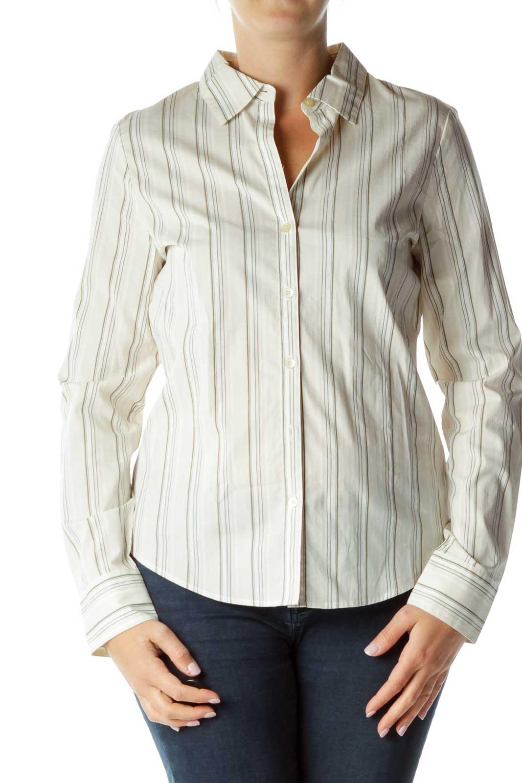 Beige Long Sleeve Shirt Front
