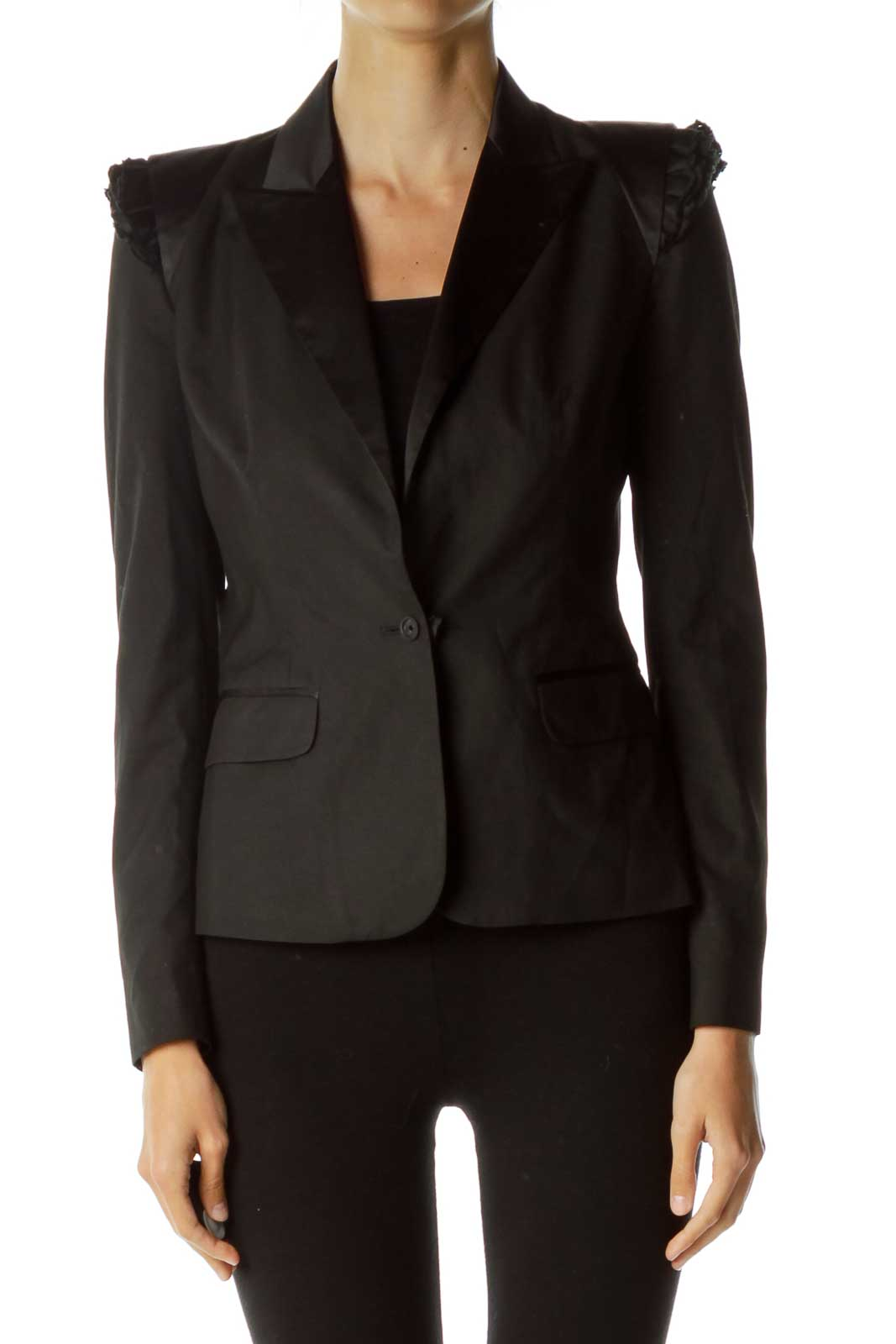 Black Strong Shoulder Blazer Front