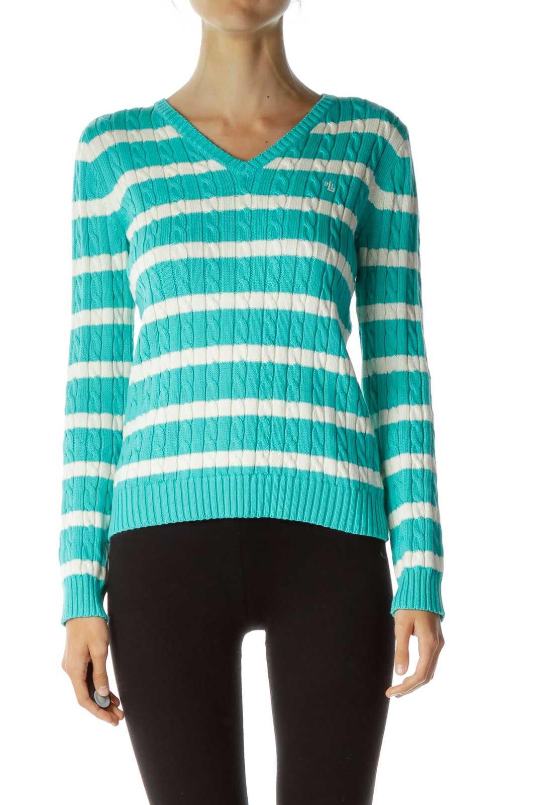 Blue White Striped V-Neck Sweater Front