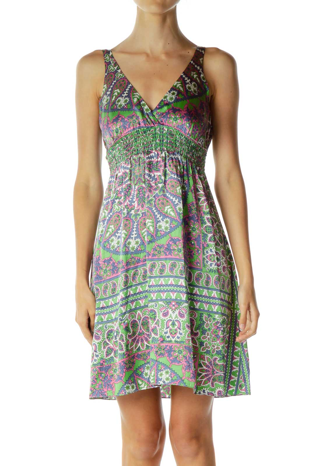 Multicolor Silk Paisley V-Neck Day Dress Front