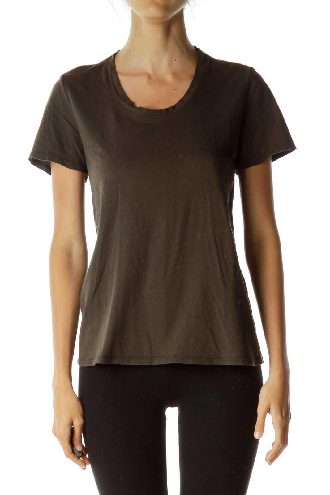 Dark Green/Brown Round Neck T-Shirt Front