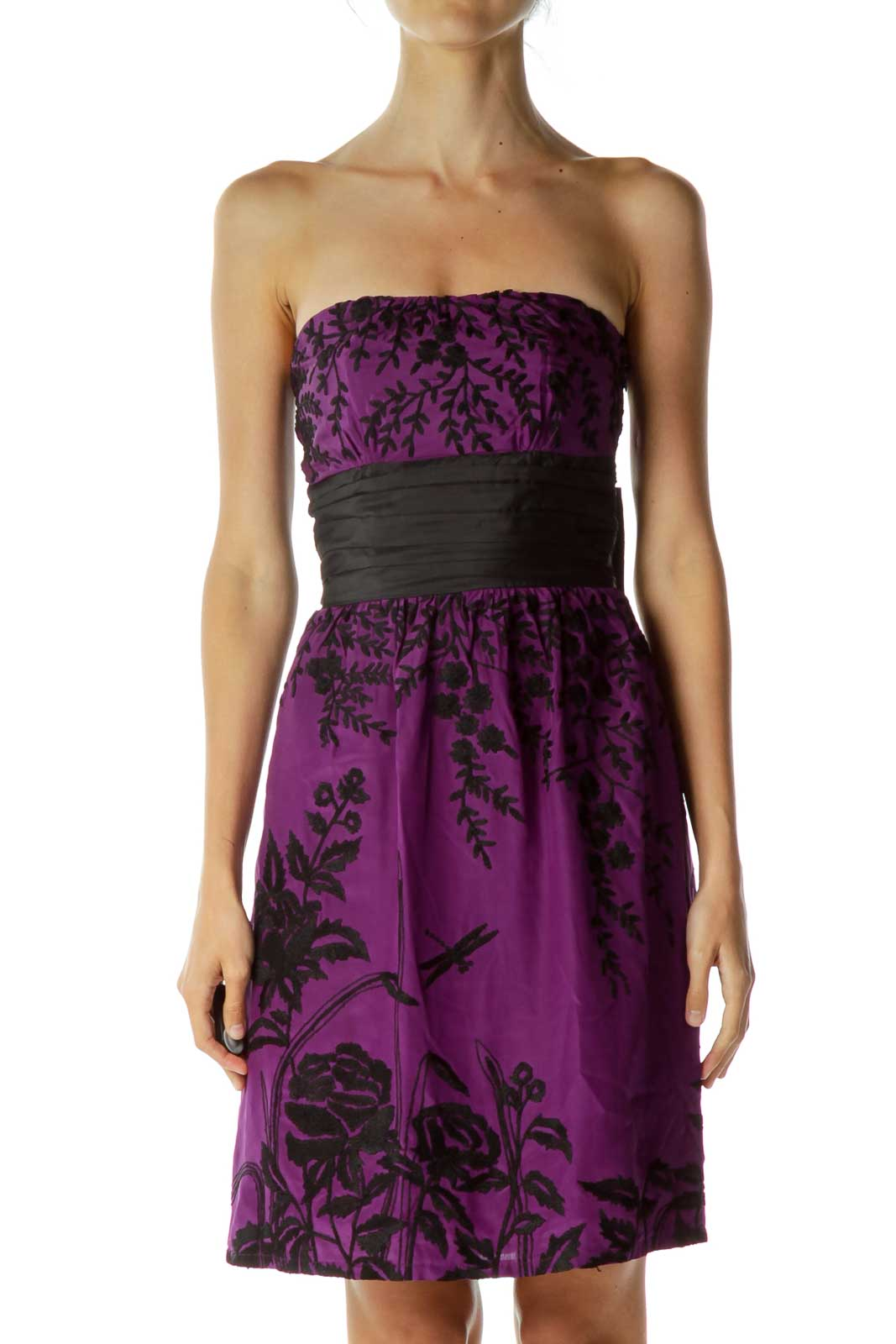 Purple Black Embroidered Strapless Dress Front