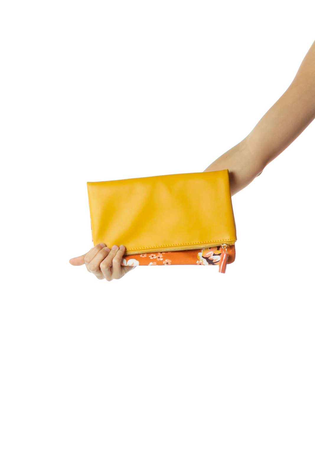 Yellow Leather & Canvas Flower Print Clutch Front