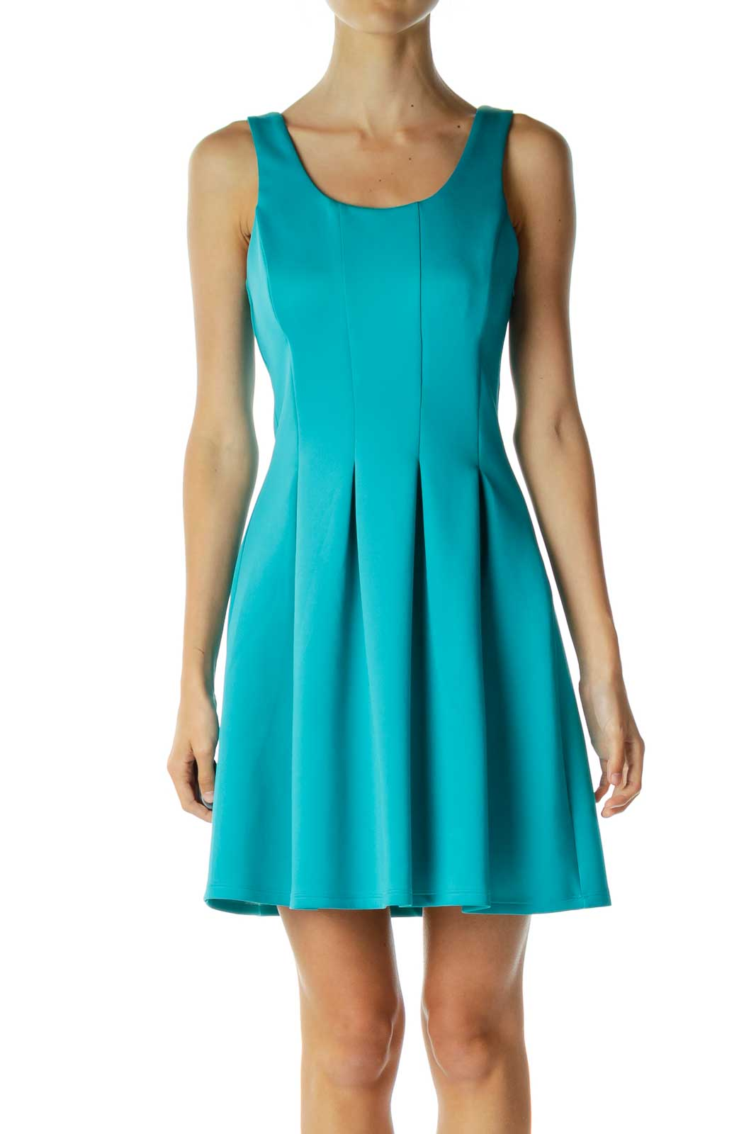 Blue A-Line Pleated Cocktail Dress Front