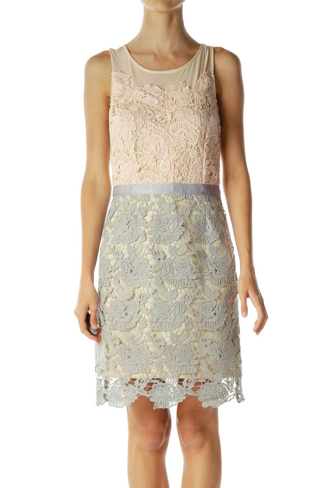 Beige Gray Lace Cocktail Dress Front