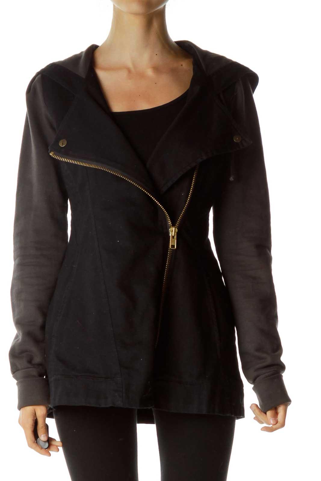 Black Denim Hooded Organic Cotton Jacket Front