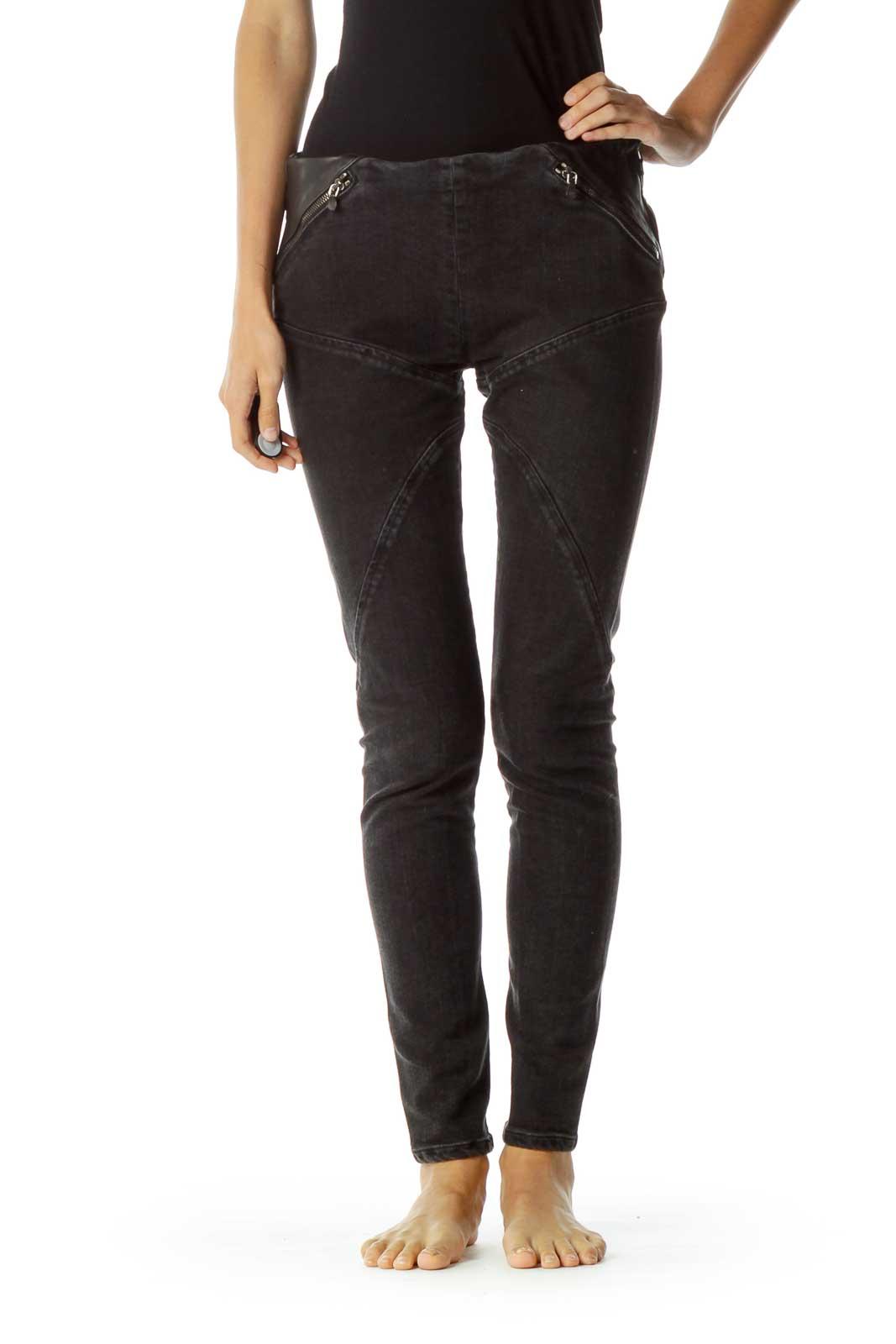 Black Leather Trim Zipper Detail Skinny Jeans Front
