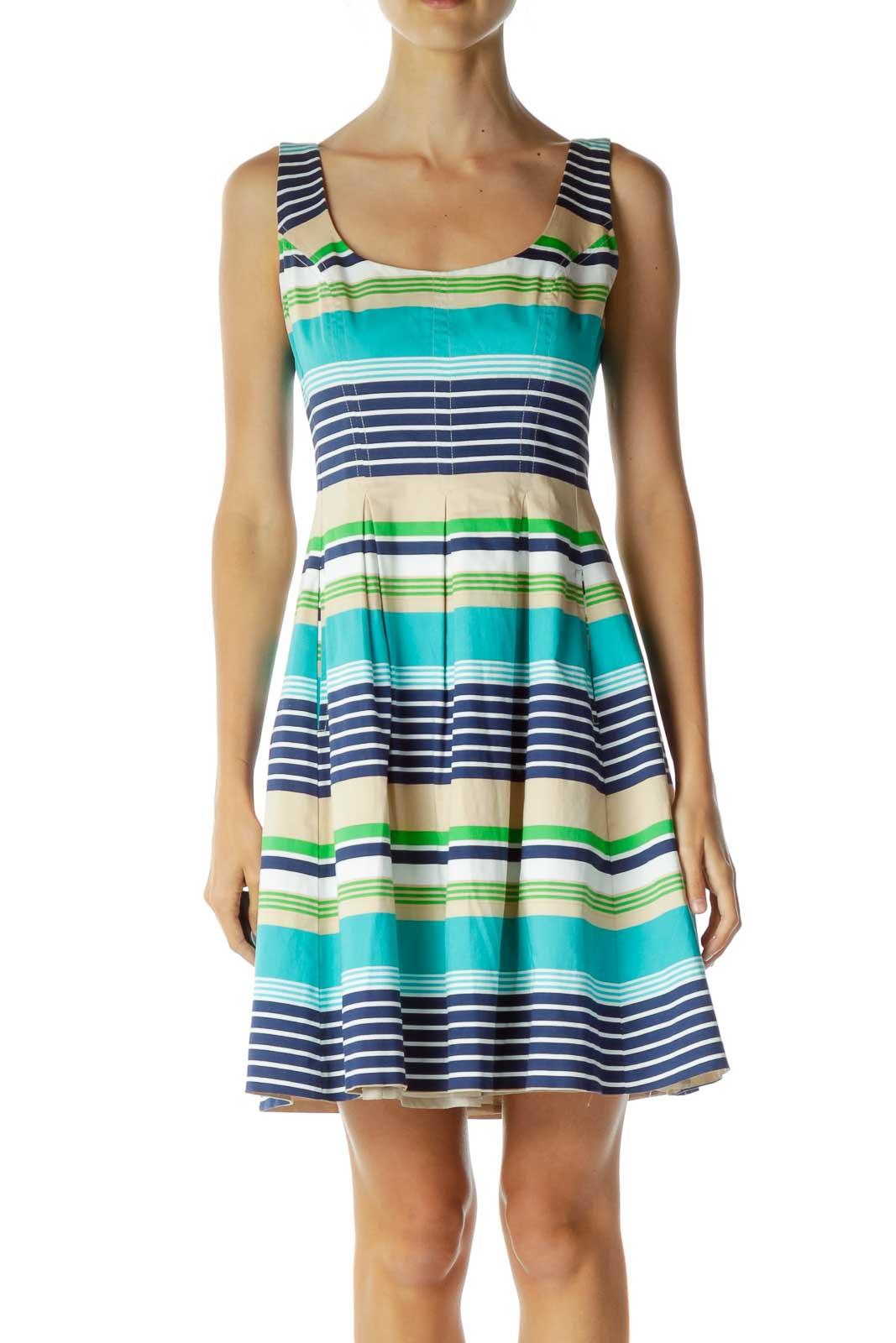 Blue Beige Striped Day Dress Front