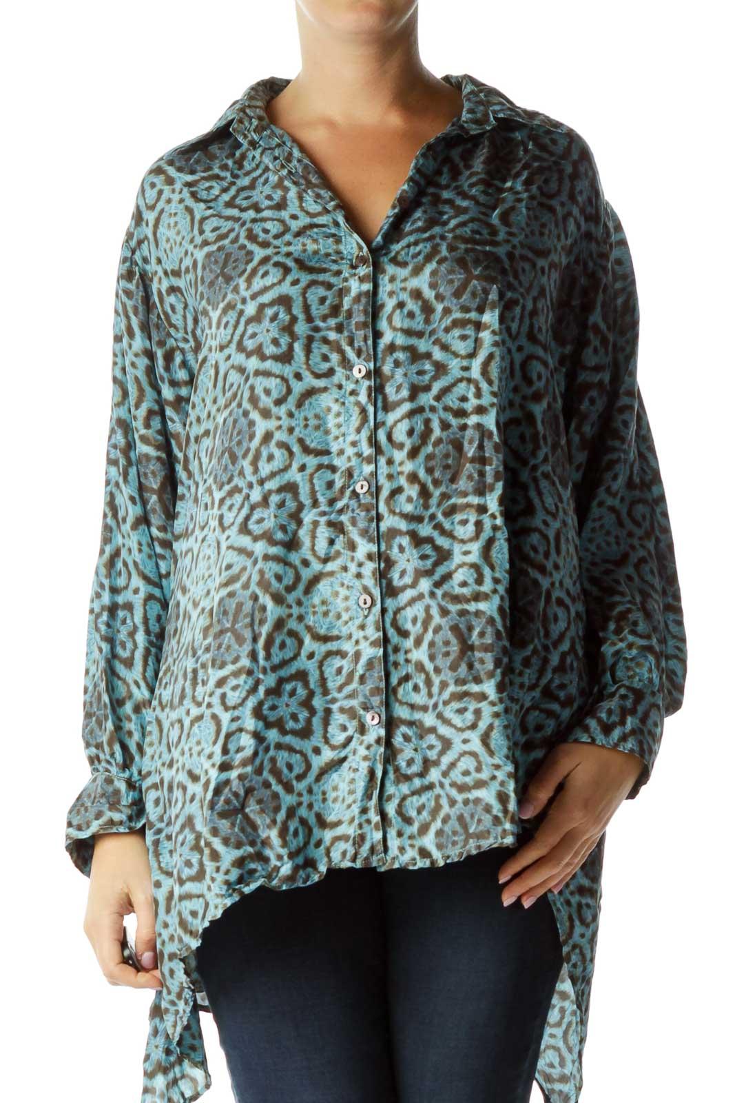 Blue Brown Loose Printed Silk Shirt Front
