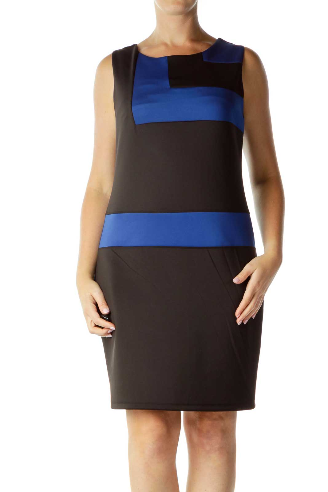 Black Blue Geometric Sheath Dress Front