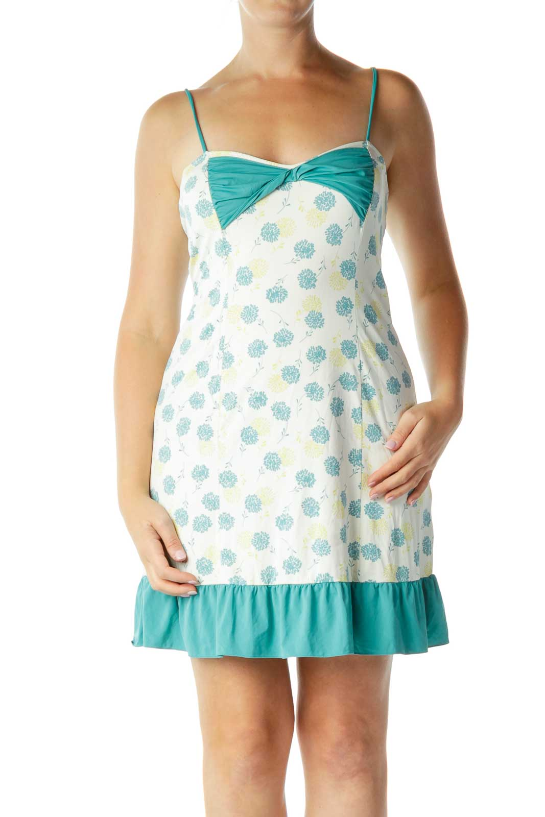 Cream Teal Floral Bow Detailed Slip Dress Front