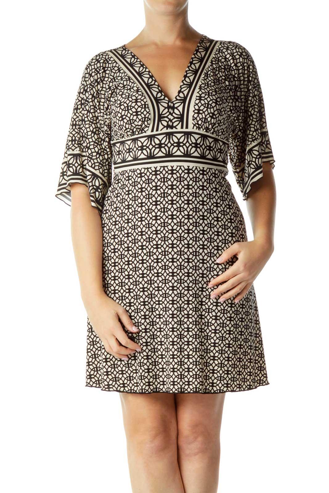 Black Beige Print Belted Jersey Dress Front