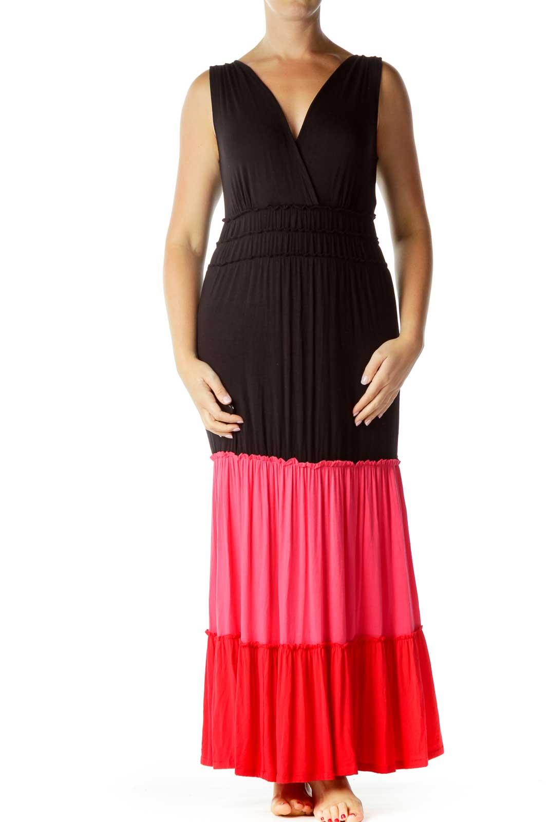 Black Red Pink Color Block Maxi Dress Front