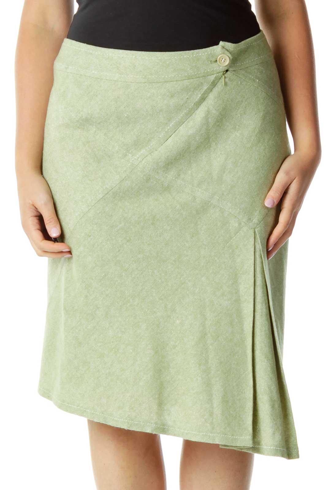 Green Woven A-Line Skirt Front