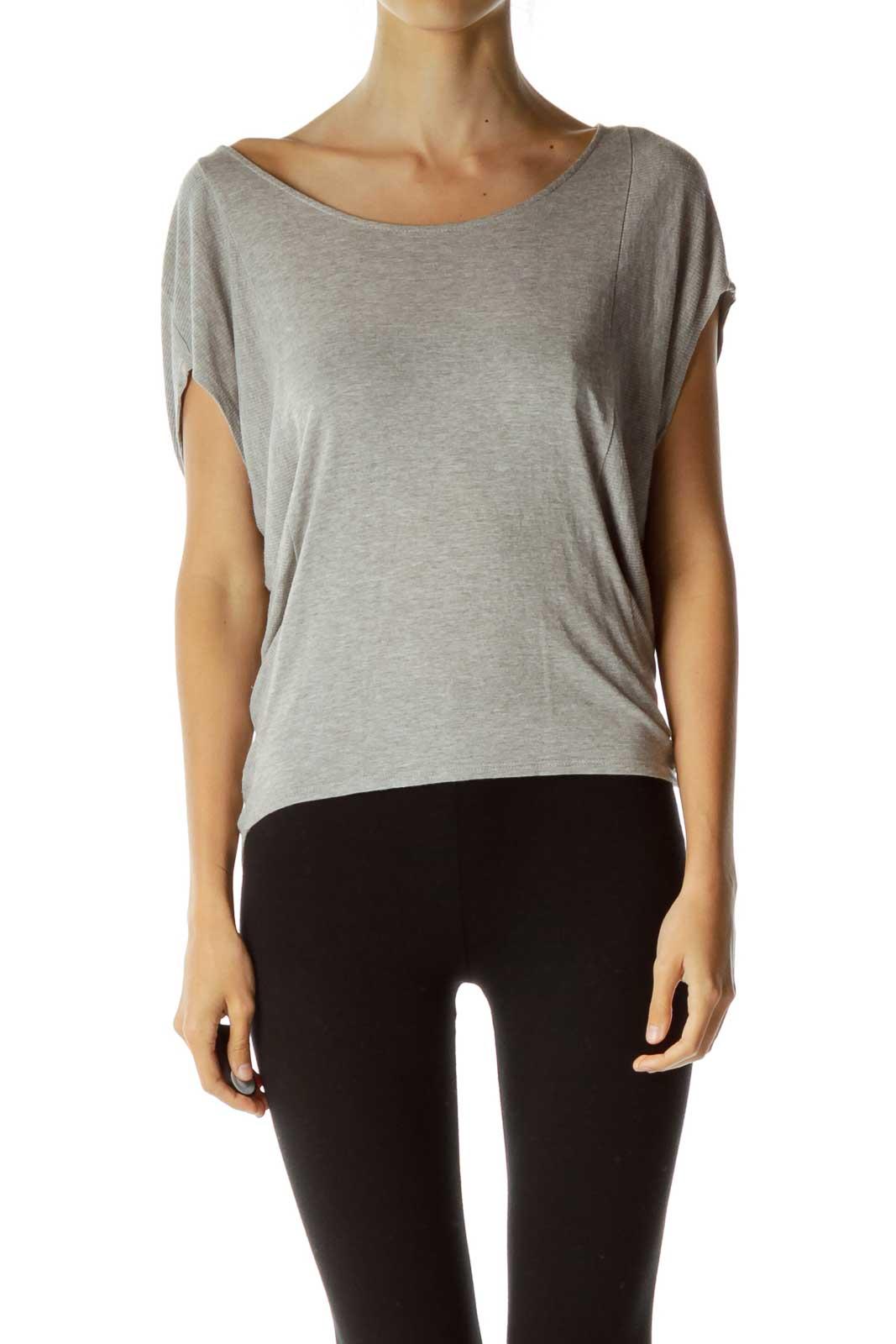 Gray Bat-Sleeve Loose T-shirt Front