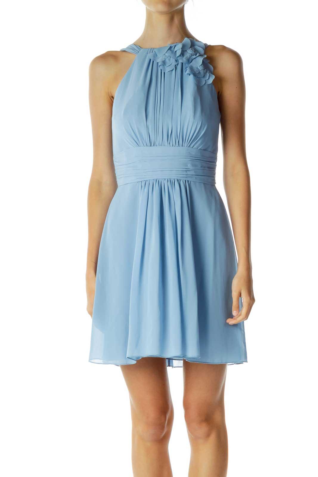 Blue Scrunched Flower Cocktail Dress Front